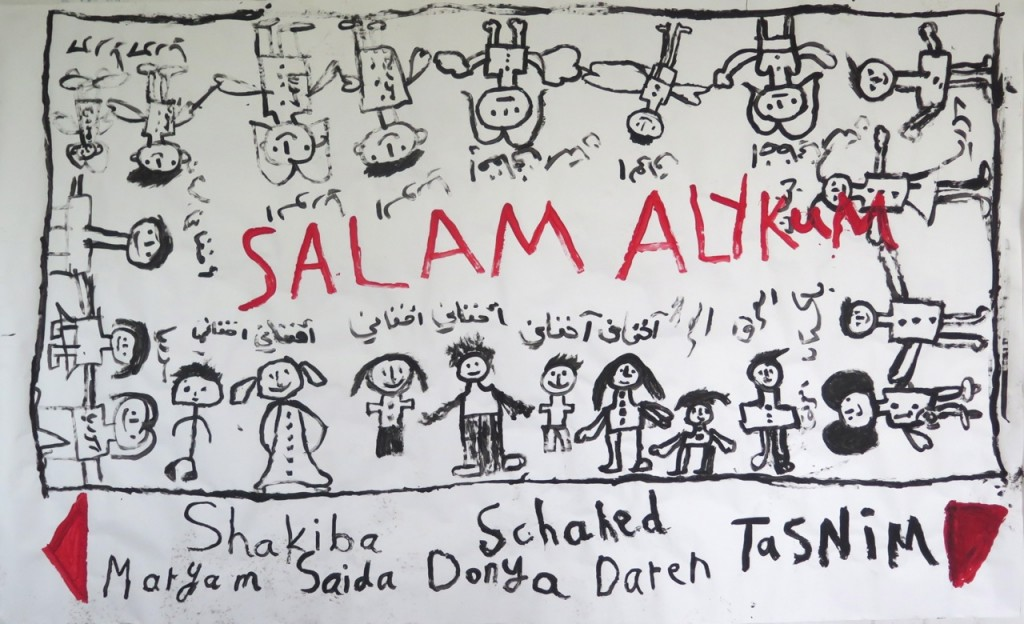 Dieter Mammel mit Flüchtlingskindern, Salam Aleikum, © Dieter Mammel
